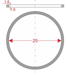 GUMIČKA Ø25mm 1.6x1.6mm PRE...